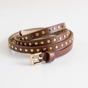 J Crew Skinny Studded Brown & Gold Belt - Small